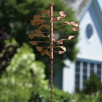 Copper Disc Wind Spinner With Twisted Stake Whirligigs
