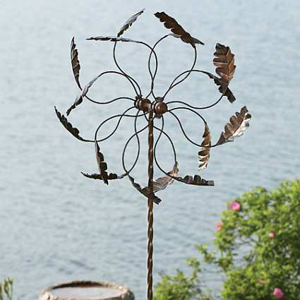 Feather Wind Spinner Large With Twisted Stake Whirligigs
