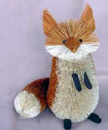 Brushart bristle brush animal fox red brown sitting 18 inch