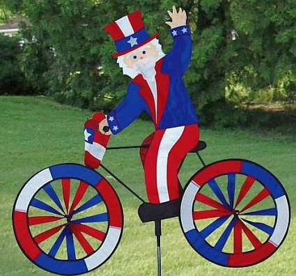 Premier designs uncle sam bicycle garden spinner large for Garden spinners premier designs