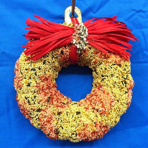 Pink Swirl Edible Bird Seed Wreath w/Red Bow