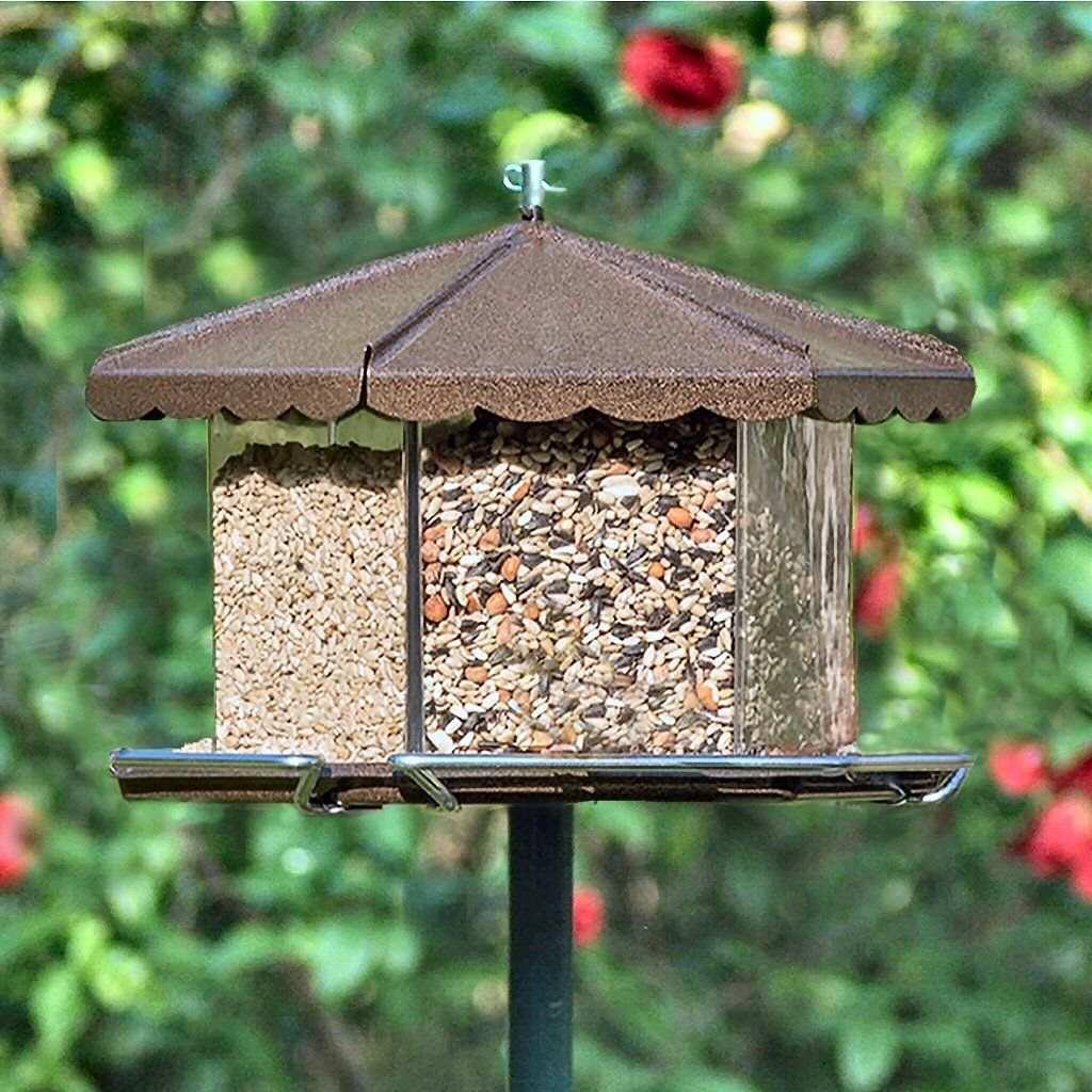 Triple Bin Party Bird Feeder Bronze Multi Seed Bird Feeder Quality Large Capacity Bird Feeders At Fiddle Creek Farms