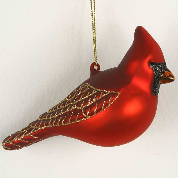Blown Glass Bird Ornament Northern Cardinal