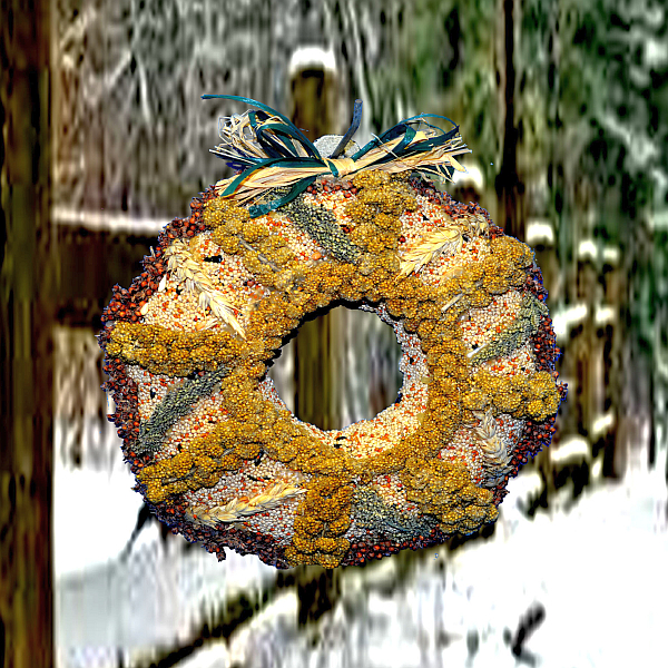 Bundt Wagon Wheel Edible Seed Wreath w/Bow