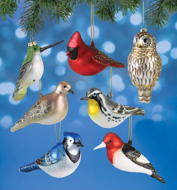 Blown Glass Bird Ornament Collection Set of 7