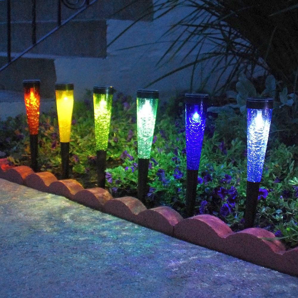 Solar Crackle Glass Sparkle Cones Spiked Set of 3