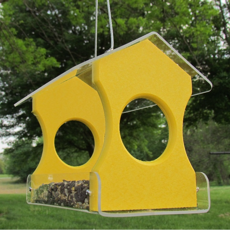 Recycled Poly Hanging Bird Feeder Yellow