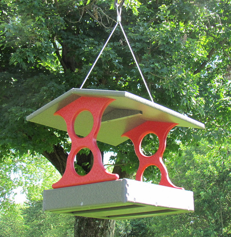 Recycled Poly Fly-Through Feeder Medium Red/Gray