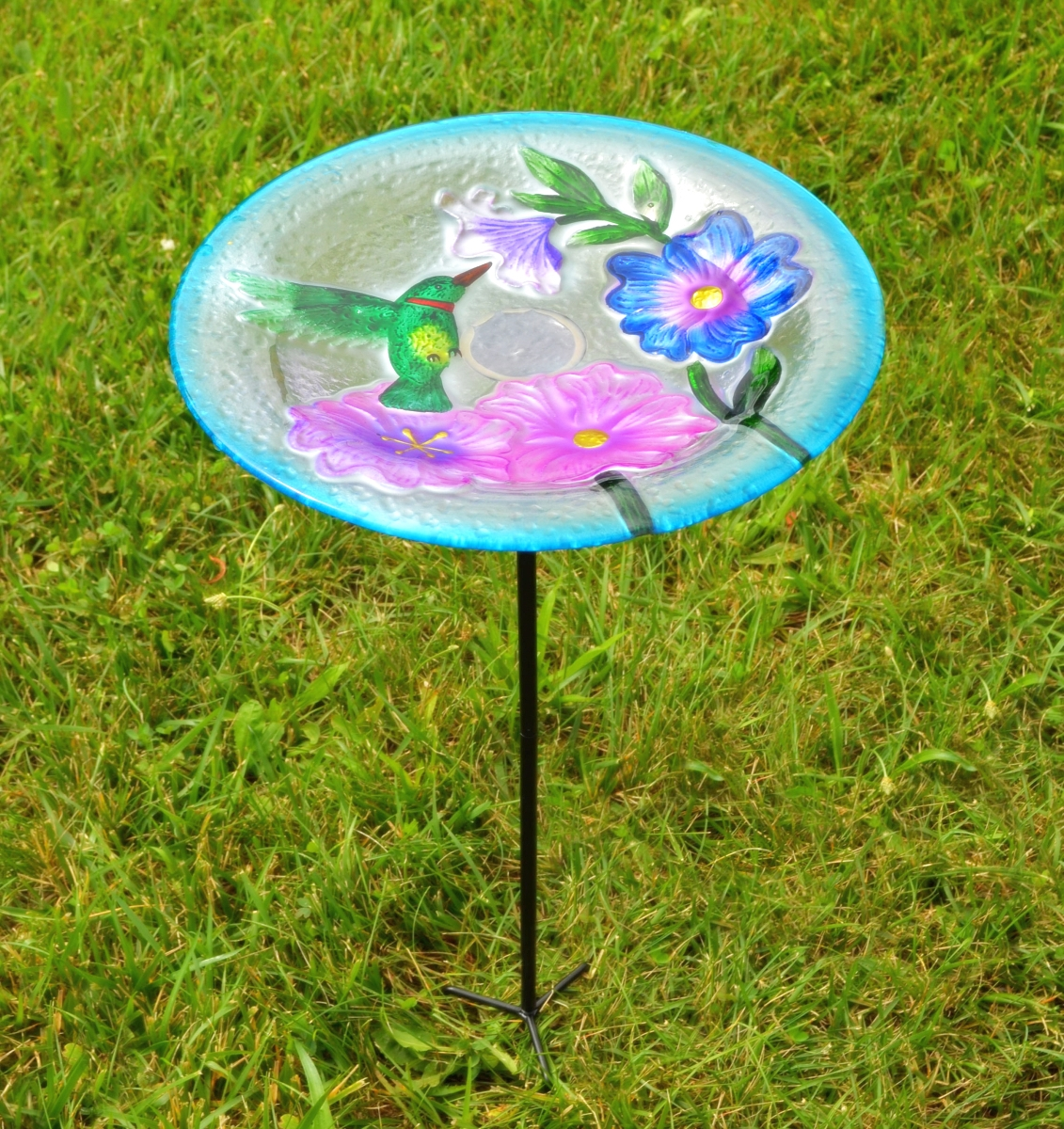 Embossed Hummingbird Glass Birdbath Staked
