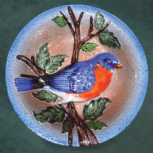 Embossed Bluebird Glass Birdbath