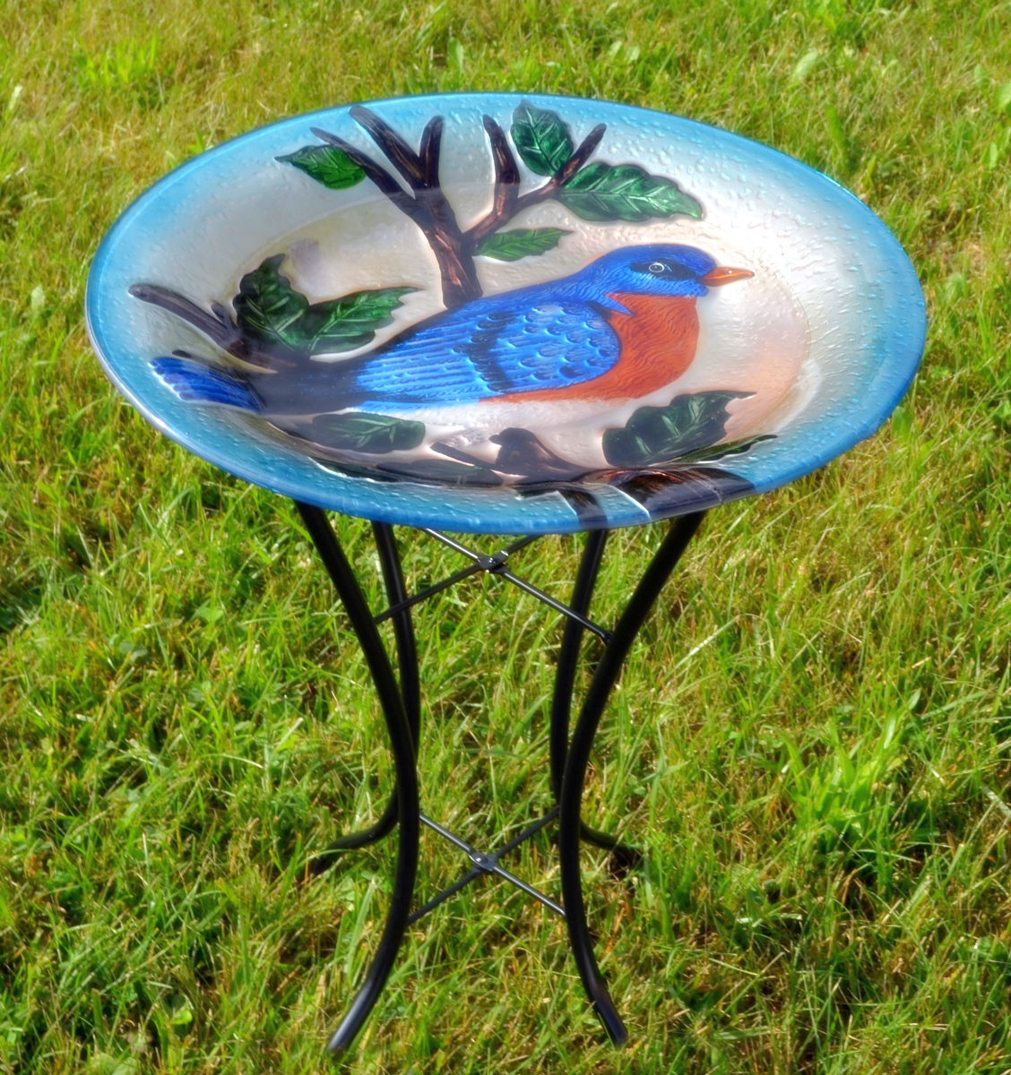 Embossed Bluebird Glass Birdbath w/Stand