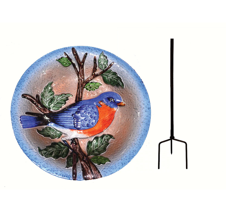 Embossed Bluebird Glass Birdbath Staked