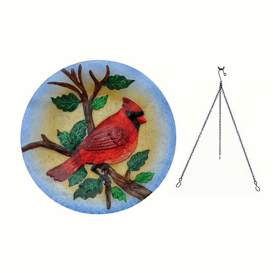 Embossed Majestic Cardinal Glass Hanging Birdbath