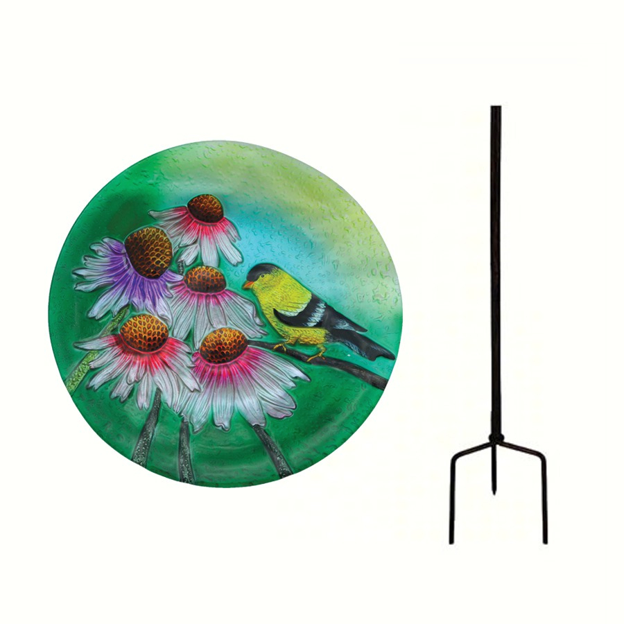 Embossed Goldfinch Glass Birdbath Staked