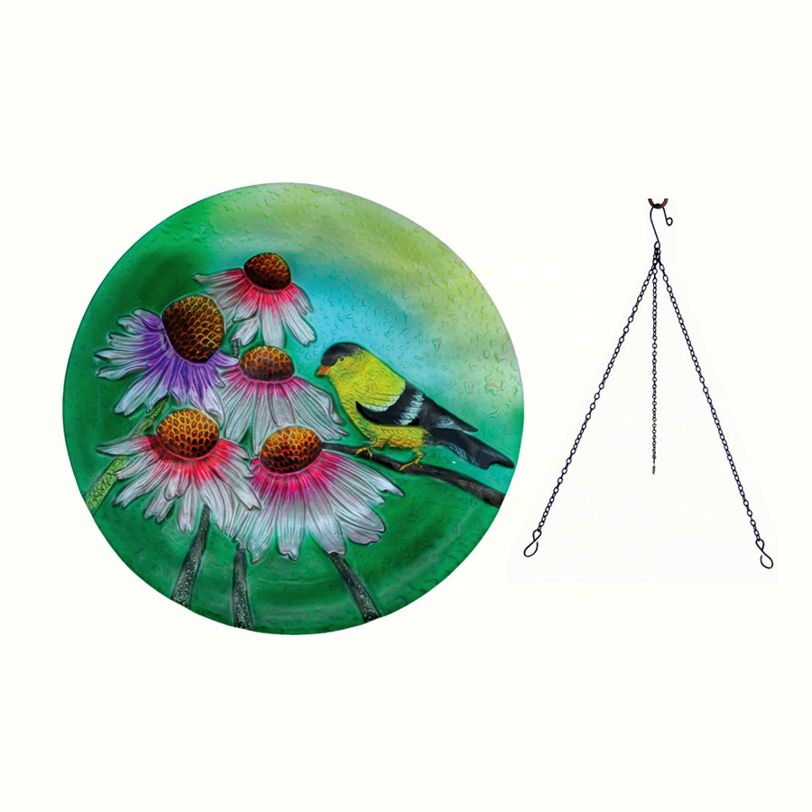 Embossed Goldfinch Glass Hanging Birdbath