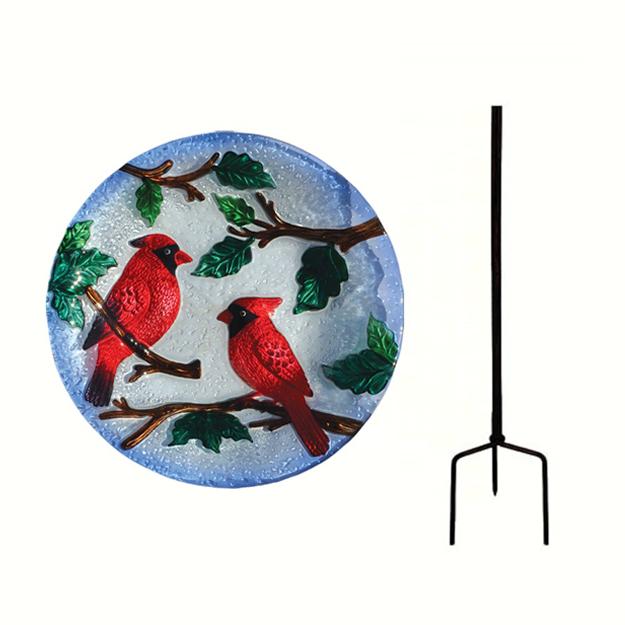 Embossed Perching Cardinals Glass Birdbath Staked