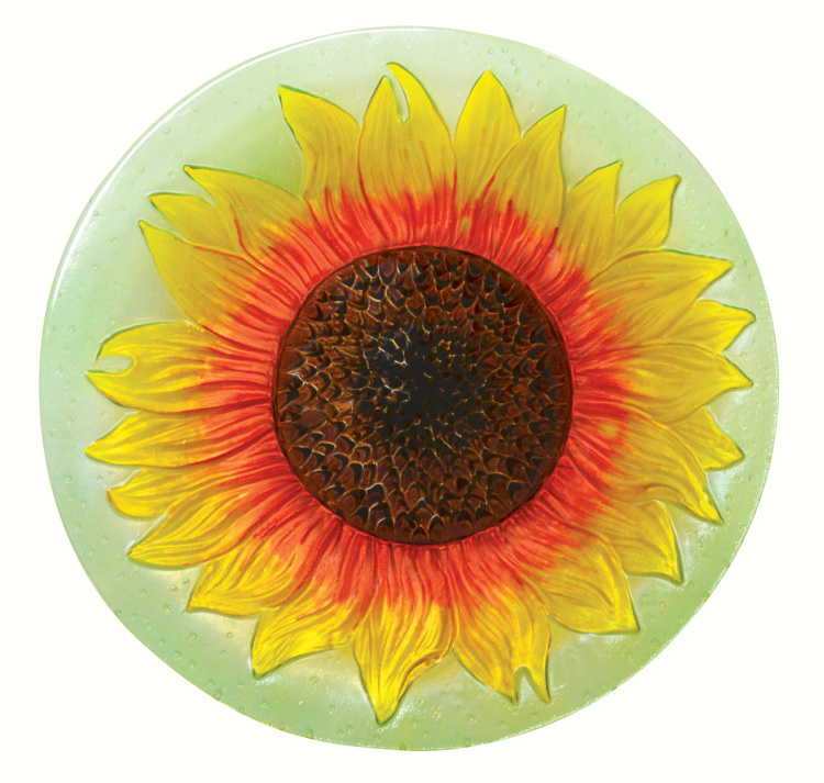 Embossed Sunflower Glass Birdbath