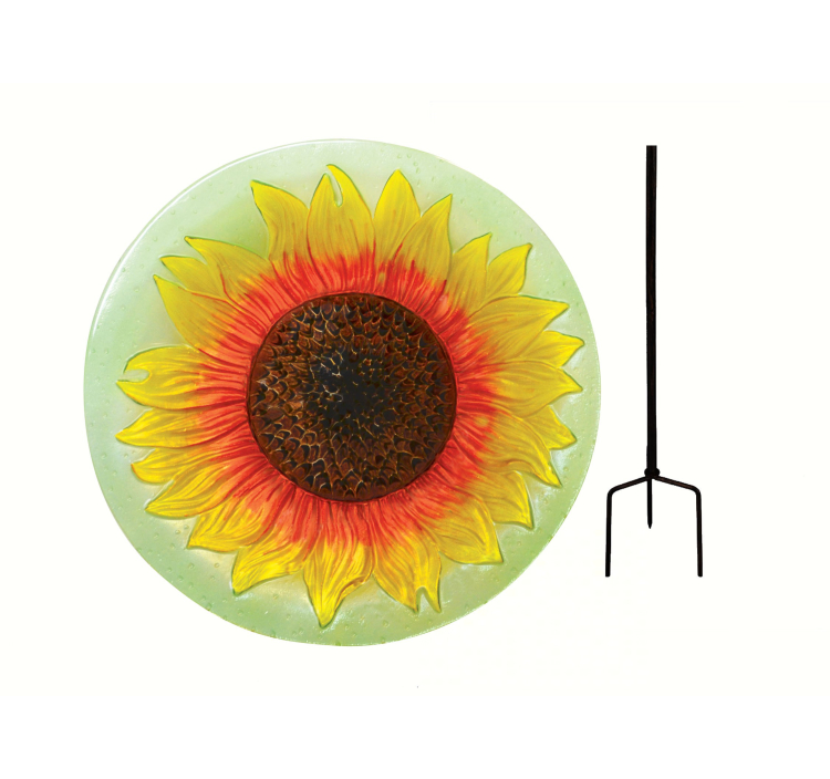 Embossed Sunflower Glass Birdbath Staked