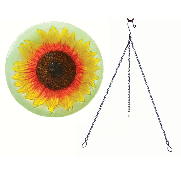 Embossed Sunflower Glass Hanging Birdbath