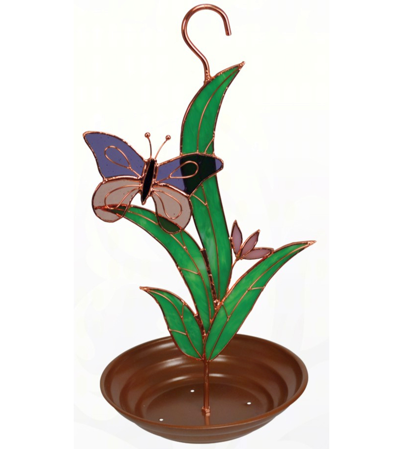 Stained Glass Bird Feeder Purple Butterfly