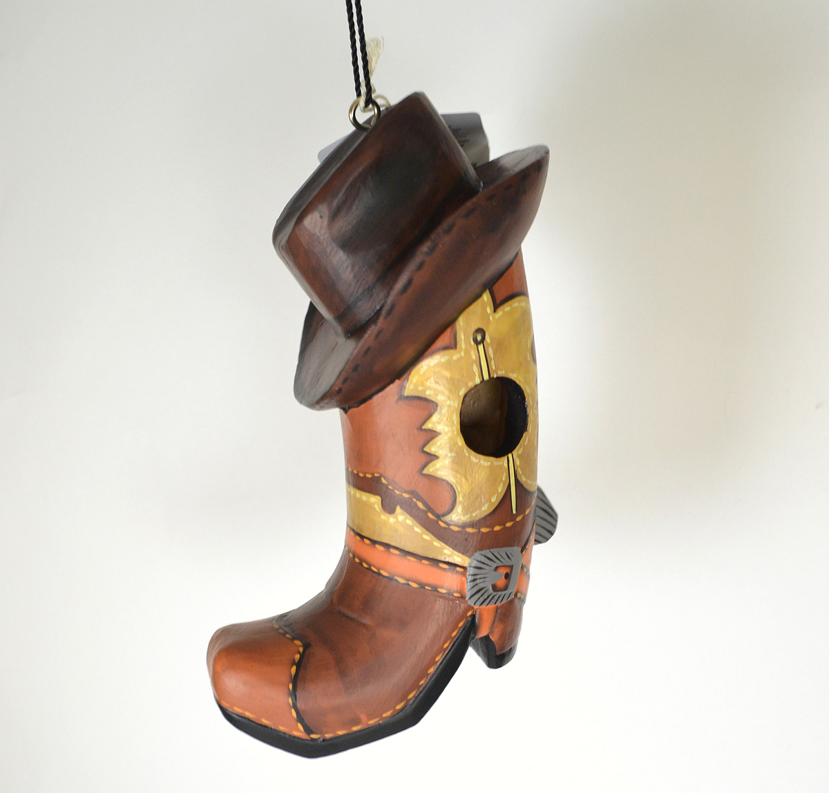 Americana Cowboy Boot w/Hat Backyard Birdhouse