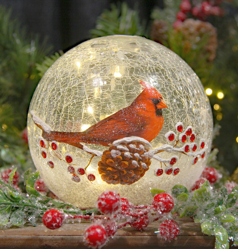 Crackle Glass LED Globe 6-Inch Cardinal