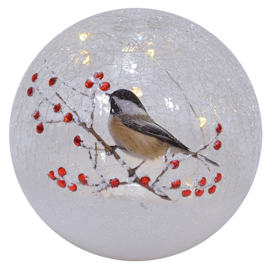Crackle Glass LED Globe 6-Inch Chickadee