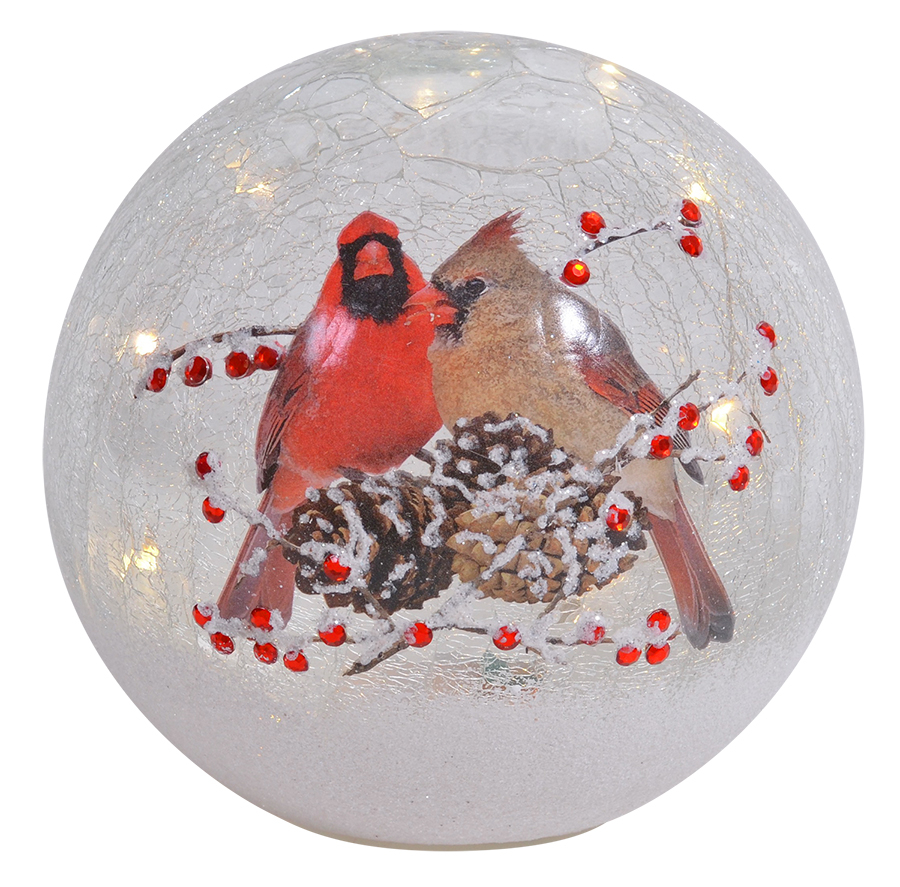 Crackle Glass LED Globe 7-Inch Cardinal Pair