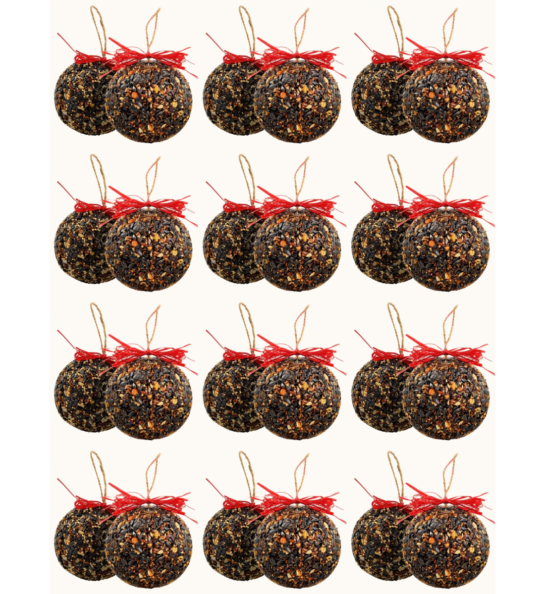Seed and Nut Ornament Balls 15 oz. Set of 24