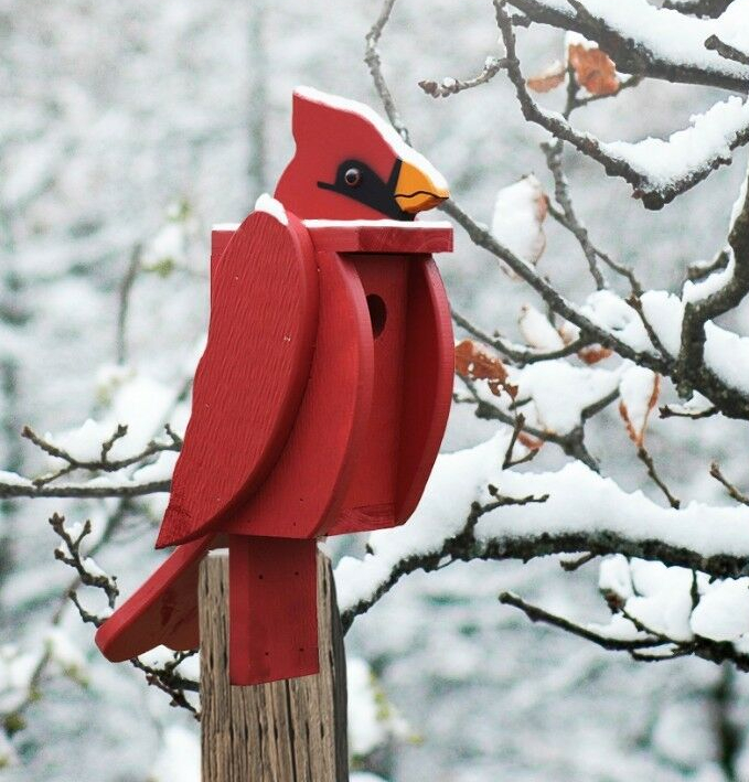 Amish Hand-Made Shaped Birdhouse Cardinal