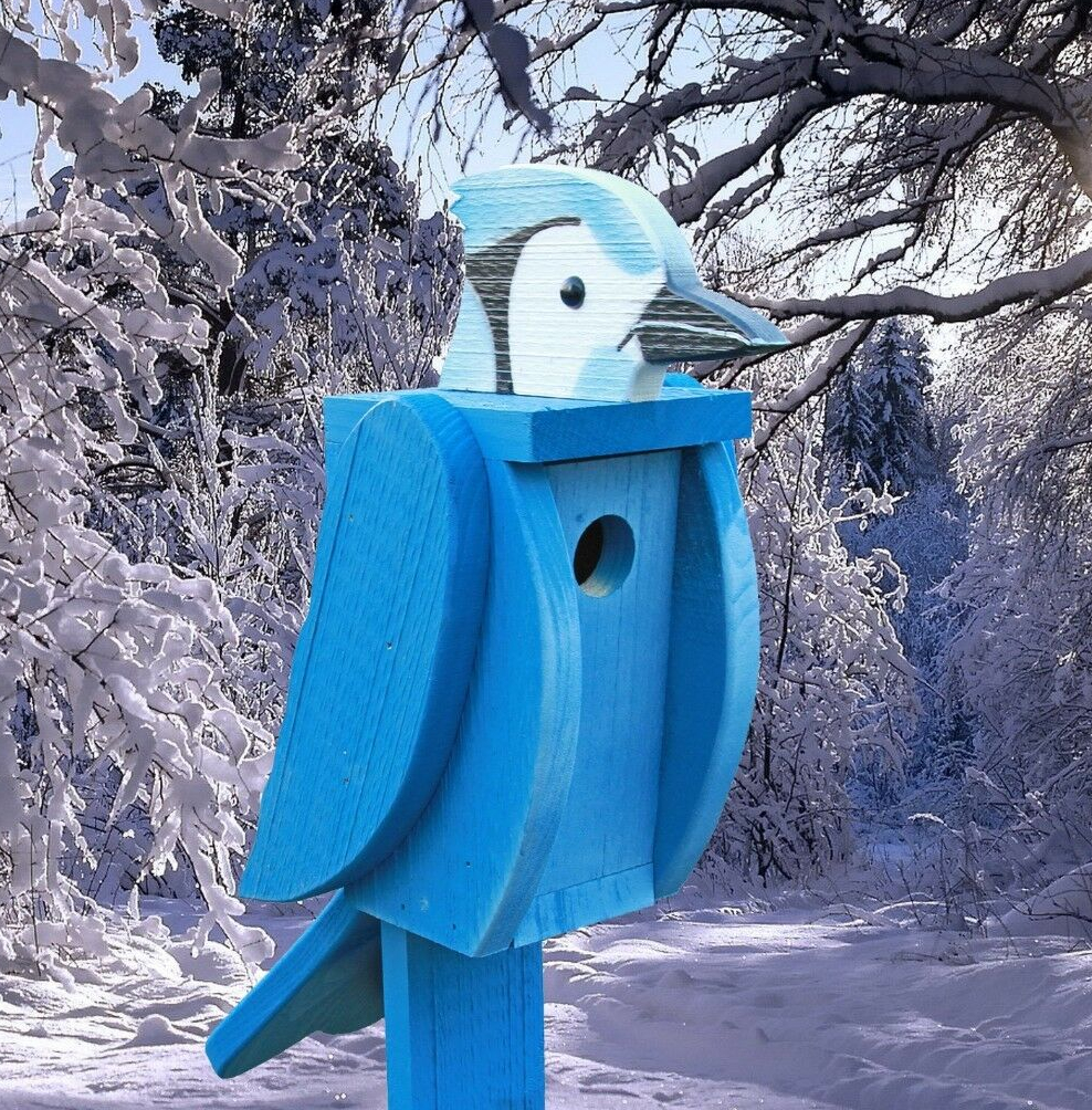 Amish Hand-Made Shaped Birdhouse Blue Jay