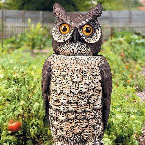Rotating-Head Great Horned Owl Scarecrow