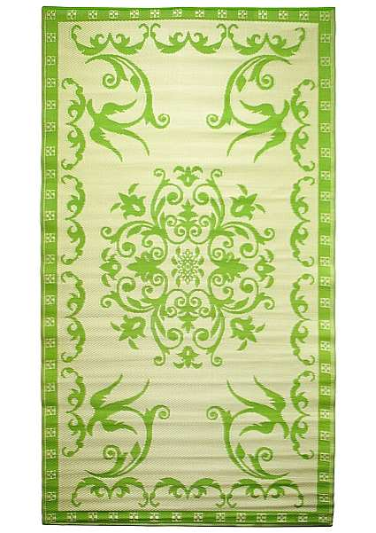 Classic Woven Floor Mat 5'x9' Lime/Off-White
