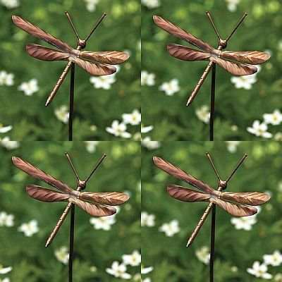 Flamed Copper Dragonfly Garden Ornaments Set Of 4, Dragonfly Garden Stake  Ornaments At Fiddle Creek Farms