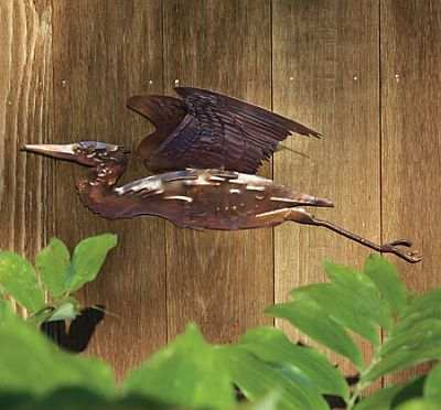 Flamed Copper Heron Wall Mount