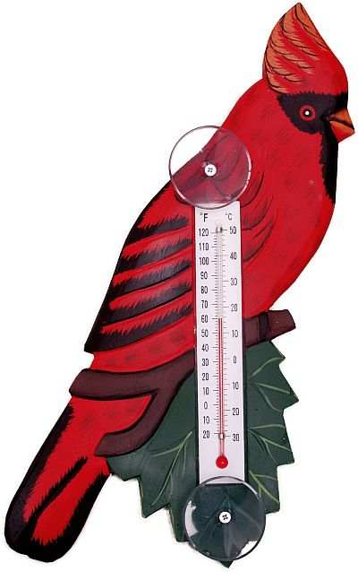Weather or Not Window Thermometer Cardinal