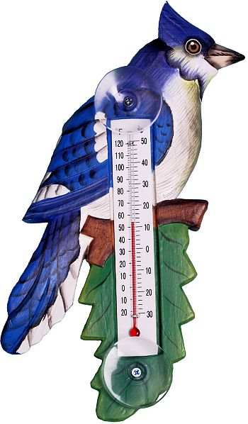 Weather or Not Window Thermometer Blue Jay
