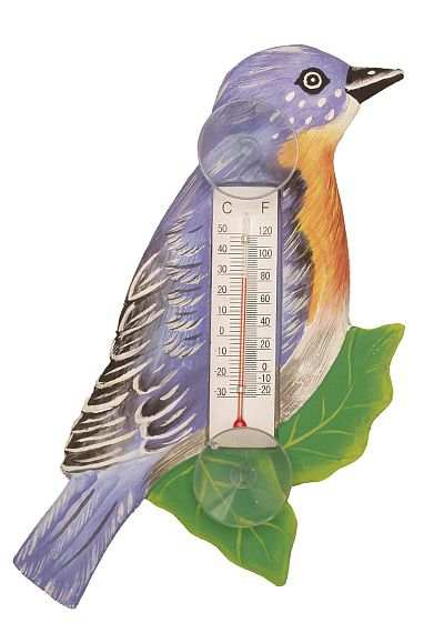 Weather or Not Window Thermometer Bluebird