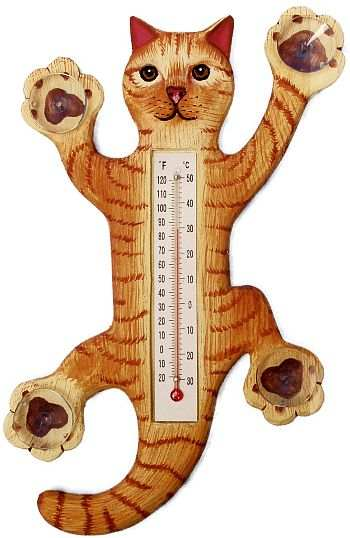 Weather or Not Window Thermometer Orange Tabby Cat