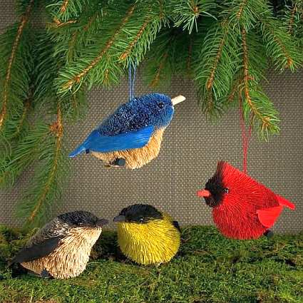 Brushart Bristle Brush Songbirds Ornament Set of 4