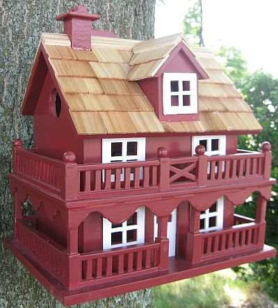 Classic Novelty Cottage Bird House Red