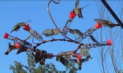 Copper Hummingbird Carousel Feeder