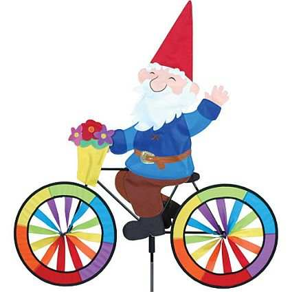 Gnome Bicycle Garden Spinner Large