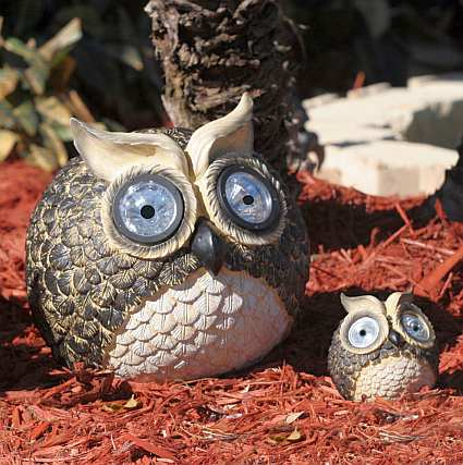 Solar Owl Accent Light Set Of 2, Eco Friendly Solar Powered Garden Accents,  Solar Garden Lights At Fiddle Creek Farms