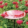 Achla Red Enameled Bird Bath