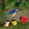 Brushart Bristle Brush Songbird Ornament Set of 4