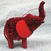 Brushart Bristle Brush Ornament Elephant Red