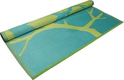 Bird Design Floor Mat Turquoise/Yellow