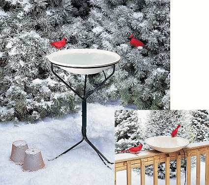"20"" Heated Bird Bath with Metal Stand and Deck Mount Hardware"