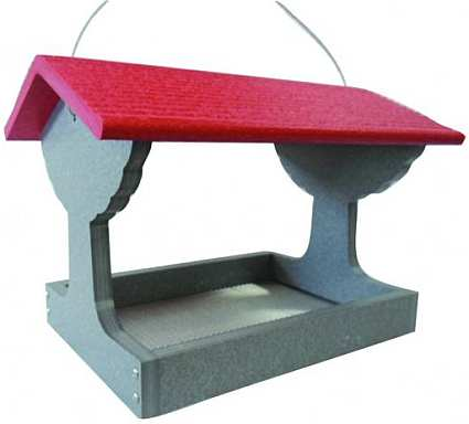 Green Solutions Fly-Through Bird Feeder Grat with Red Roof